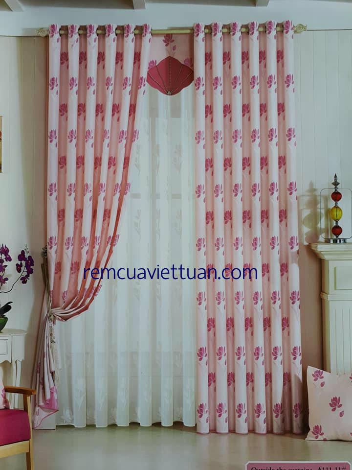 Rèm Cửa Sổ Hoa Thêu Màu Hồng - VT007